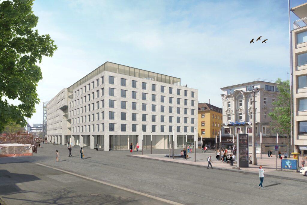 Wenn die Gerüste abgebaut werden, kommt diese Fassade an der Kampstraße zum Vorschein.